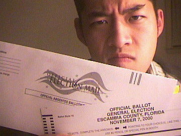 Eric Conveys:  Apathetic Voter Didn't Turn in His Florida Absentee Ballot for the Presidential Election.
